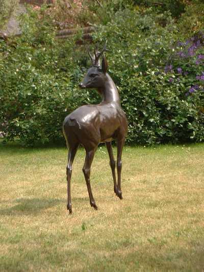 Life size bronze deer sculpture