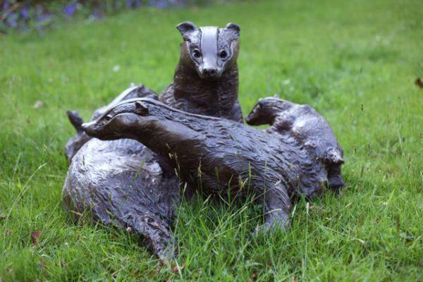Badger Family Bronze Lifesize Statue