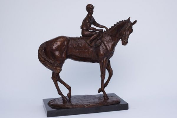 Bronze Horse and Jockey Statuette